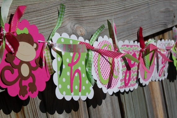 Hot Pink & Lime Green Funky  Monley HAPPY BIRTHDAY and NAME Banner Combo Set