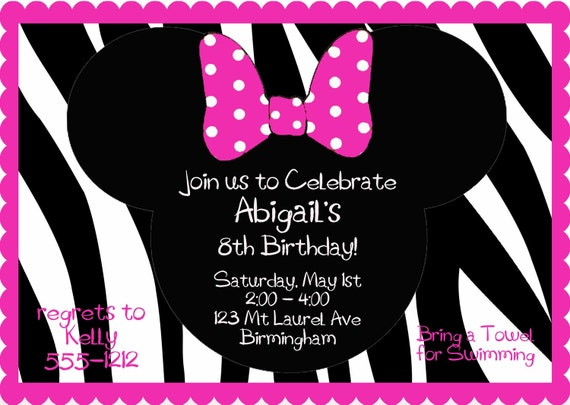 Hot Pink and Zebra Print Minnie Mouse Birthday Party Invitation