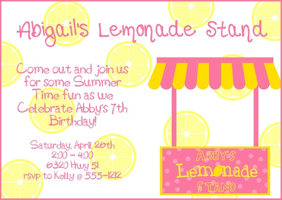 Items similar to pink yellow lemonade stand birthday for Rsvp stand for on an invitation