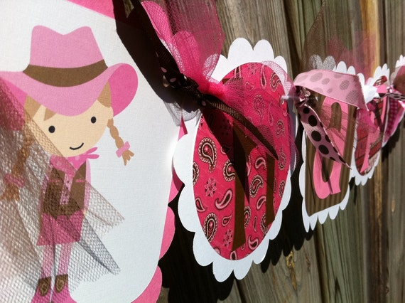 HAPPY BIRTHDAY banner in PInks and Browns with a cute COWGIRL