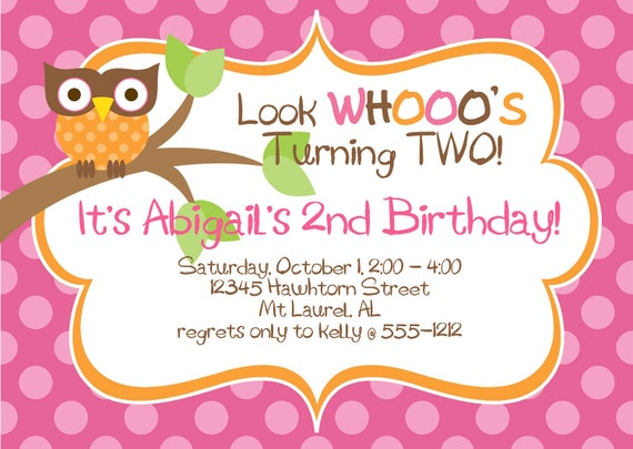 Hoot Owl Birthday  Party Invitation  in Orange, Hot Pink, Lime & Brown  SET OF 15