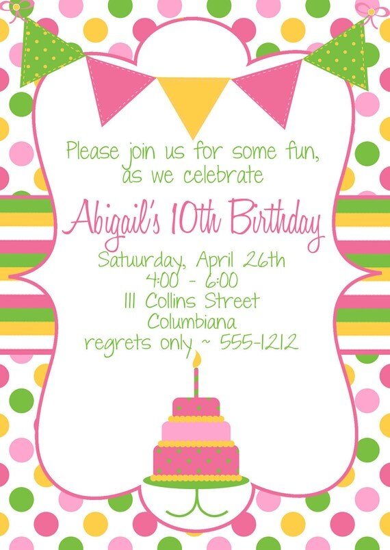 Cake Birthday Party Invitation with Cake and  Banner in Hot pink, Yellow &  Lime Green