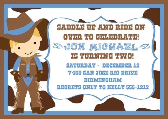 Cute Little Cowboy Birthday Party Invitation in Light Blue – Cowboy Party Invitation Wording