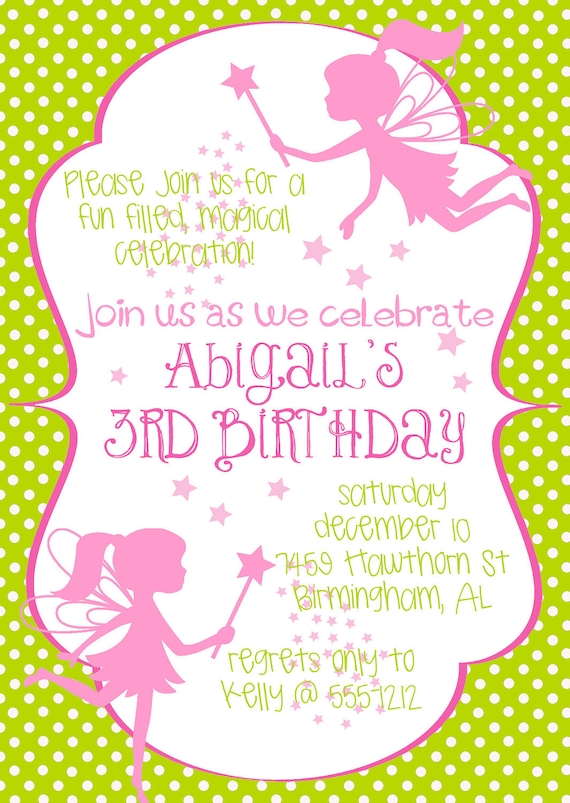 Items similar to Fairy Princess Birthday Party Invitation in Pinks & Limes on Etsy