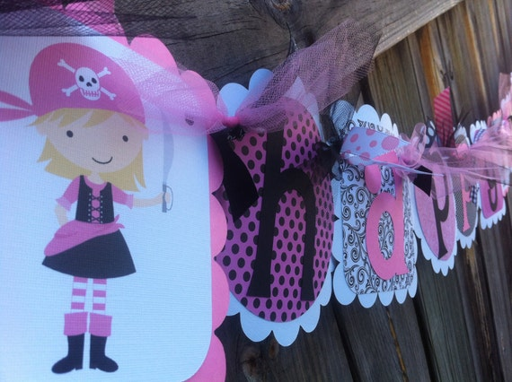 Pirate Girl Mini Party Pack   1 Happy birthday Banner, 12 Invitations, 12 cupcake toppers