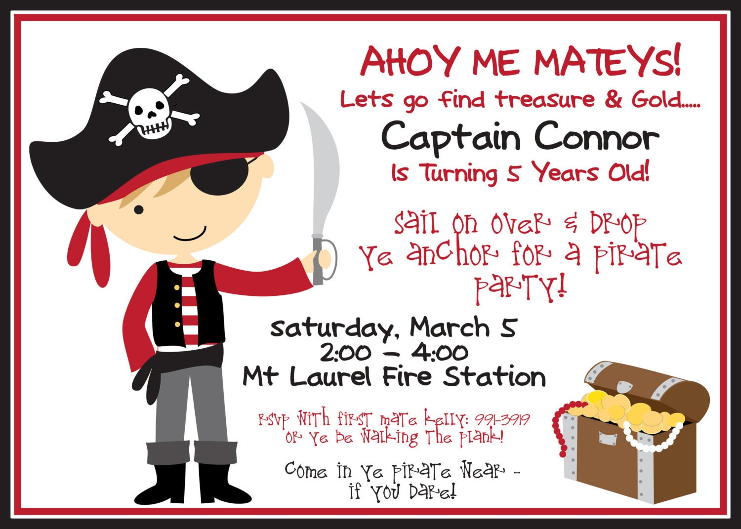 Pirate Party Invitation and Black with Boy by ...