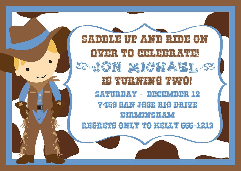Cute Little Cowboy Birthday Party Invitation in Light Blue – Wild West Birthday Invitations