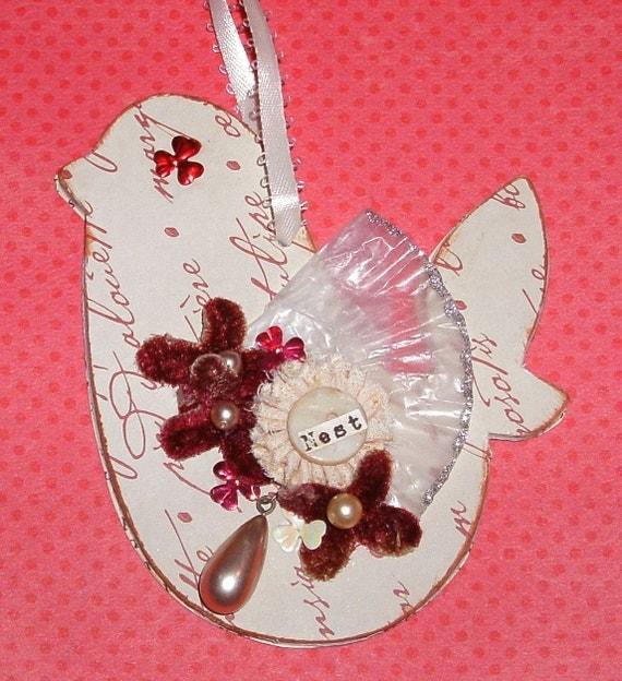 Altered Bird Ornament - Nest
