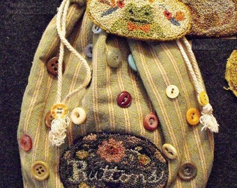Buttons Punchneedle Embroidery Pattern