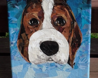 Beagle pup  8x10 original recycled art collage ON SALE