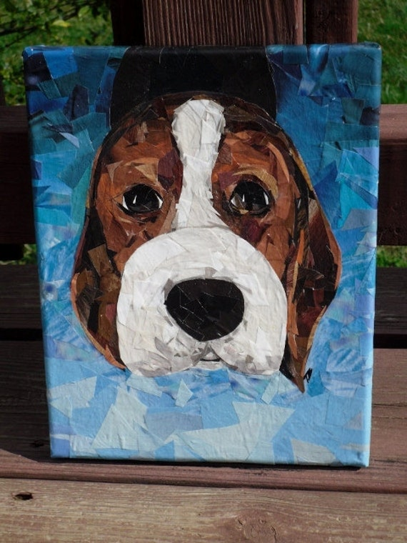 Beagle pup  8x10 original recycled art collage