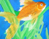FISH GOLDFISH Original Painting of Common Japanese Wakin Goldfish with Chainsword Plant
