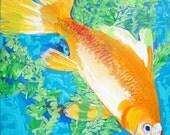 FISH GOLDFISH Original Painting of Common Goldfish and Hornwort Plant