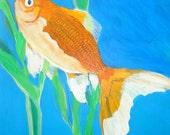 FISH GOLDFISH Original Painting of Comet-tailed Goldfish with Corkscrew Vallisneria Plant
