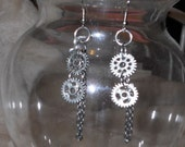 Chain and cogs earrings