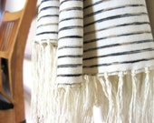 Striped Scarf - Organic Cotton Mocha Knit Scarf