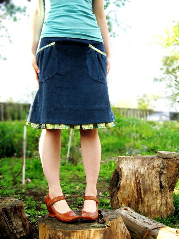 Blue Corduroy A Line Prairie Skirt with Ruffles and Gathered Pockets