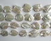 Large White Biwa Keshi Pearls
