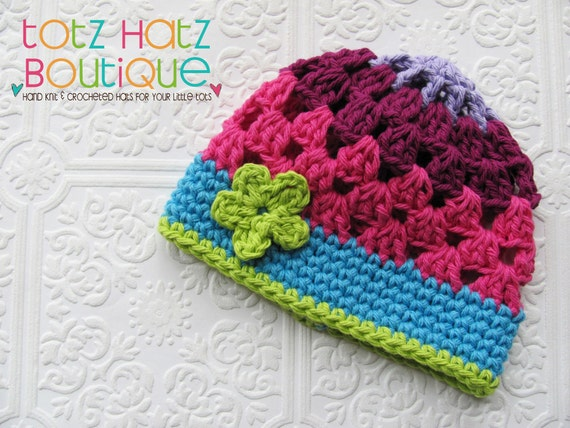 Crochet Granny Square Beanie Pattern : NEW Granny Square Style Crochet Beanie by jackieindesign ...