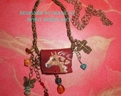Tiny Handmade Red Leather Purse  Necklace Handpainted Palomino Overo Pinto horse with FREE Anasazi Pottery Shard