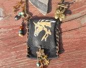 Black Leather Amulet totem purse bag necklace OOAK Handmade and Handpainted Palomino Horse ,Free Anasazi pottery shard