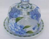 Hand Painted HYDRANGEA CHEESE DOME