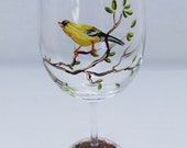 Hand Painted Bird White Wine Glass