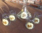 Hand Painted SUNFLOWERS Wine Serving Set