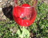 Hand Painted Red Emperor Tulip White Wine Glass