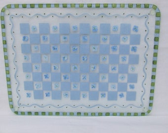 Hand Painted BLUE HYDRANGEA Large Cutting Board