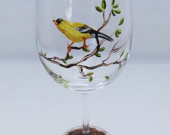Hand Painted Bird White Wine Glass