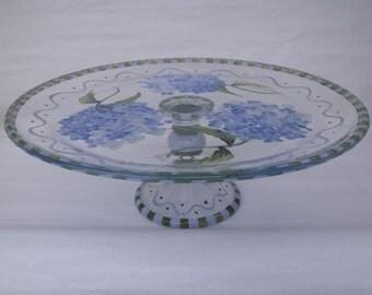 Hand Painted HYDRANGEA Pedestal Cake Plate