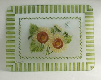 Hand Painted SUNFLOWERS Glass Cutting Board