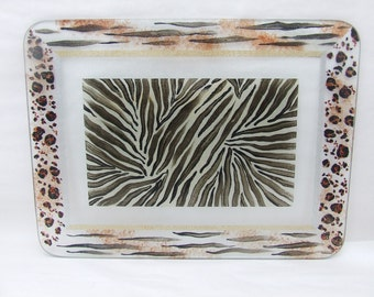 Animal Hand Painted Glass Cutting Board