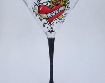 Hand Painted HEART TATTOO Martini Glass