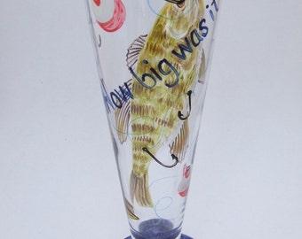 Hand Painted GONE FISHIN' Beer Pilsner