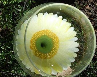 Hand Painted Gerbera  Daisy White Wine glass