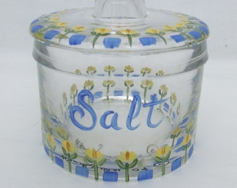 Hand Painted SUNFLOWERS Glass Salt Jar