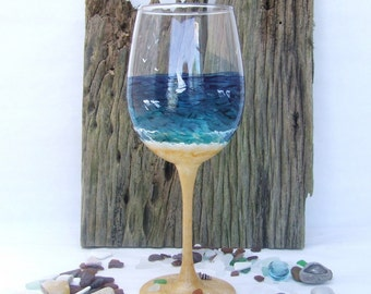 Hand Painted Beach Glass Wine Glass