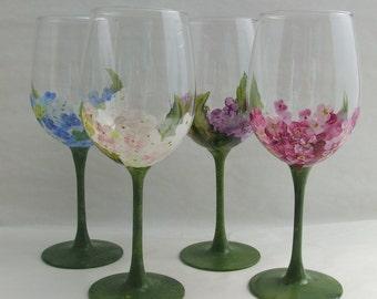 Hand Painted HYDRANGEA White Wine Glass