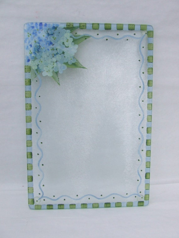 Hand Painted BLUE HYDRANGEA Small Glass Cutting Board