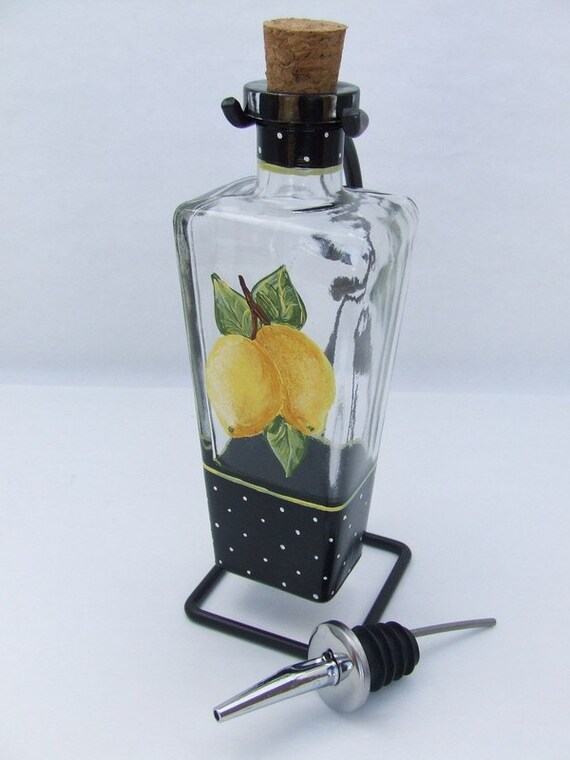 Hand Painted  LEMONS Olive Oil Bottle w/stand