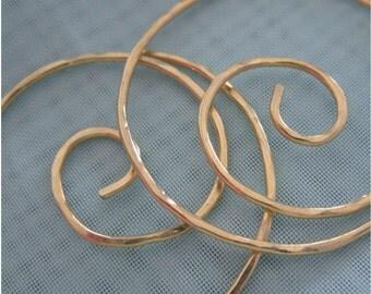 Free Shipping item.  NOT SO MINI . Medium Hoop Earrings . Swirl. Hammered Surface. 18 gauge Solid Brass
