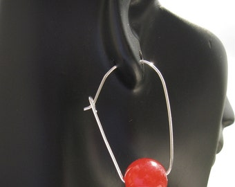 Scarlet Red Agate snd Silver Earrings. KARDASSIAN. Abstracted Hoop Design by Artist Anita Berglund