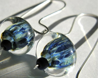 Earrings. ILLINOIS. blue and green artisan lamp work glass and solid sterling silver drop  earrings