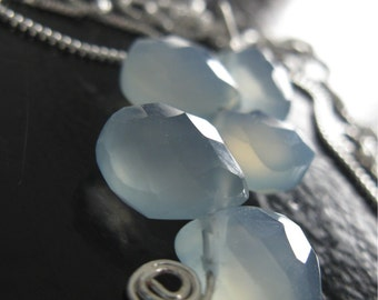 Blue chalcedony gemstone pendant necklace with sterling silver chain
