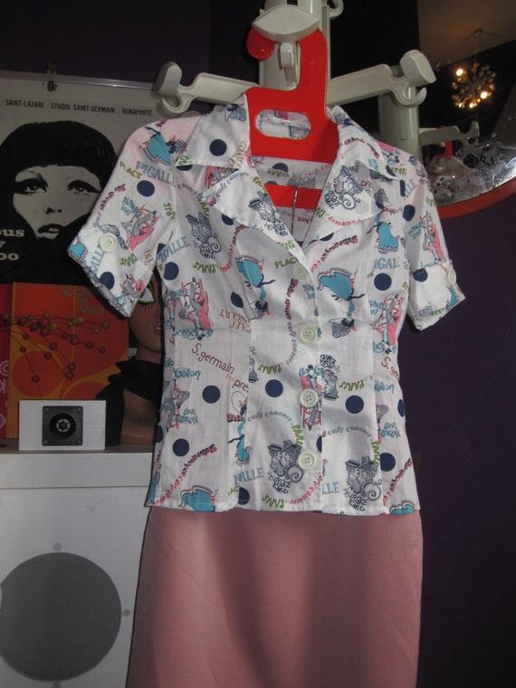 Paris topic pin up shirt  white , pink , green , blue , navy print xs novelty pin up vlv rockabilly France