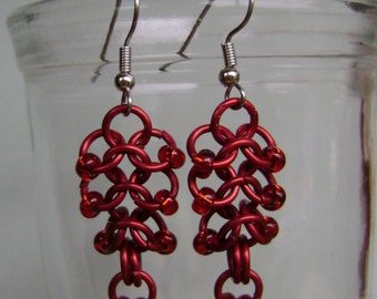 Chainmaille Earrings Red