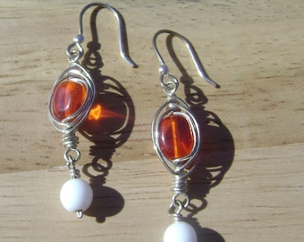 Sterling Silver Wirewrapped Earrings Orange and White
