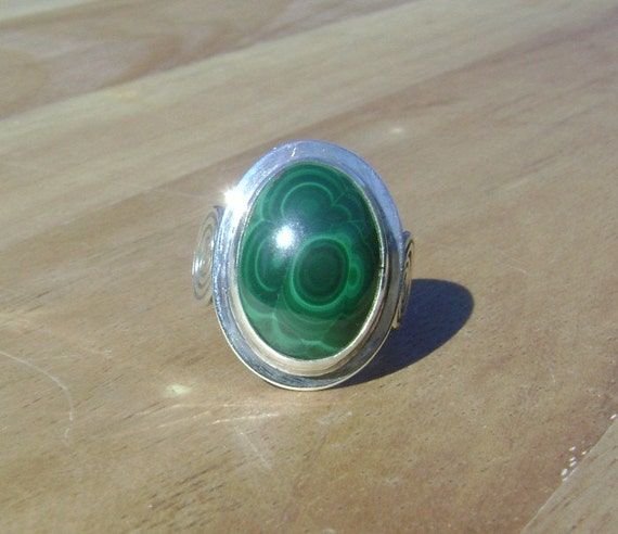 Sterling Silver Malachite Spiral Ring